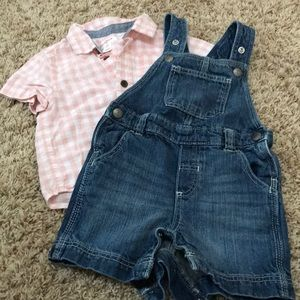 Infant boys short overalls and button up t-shirt